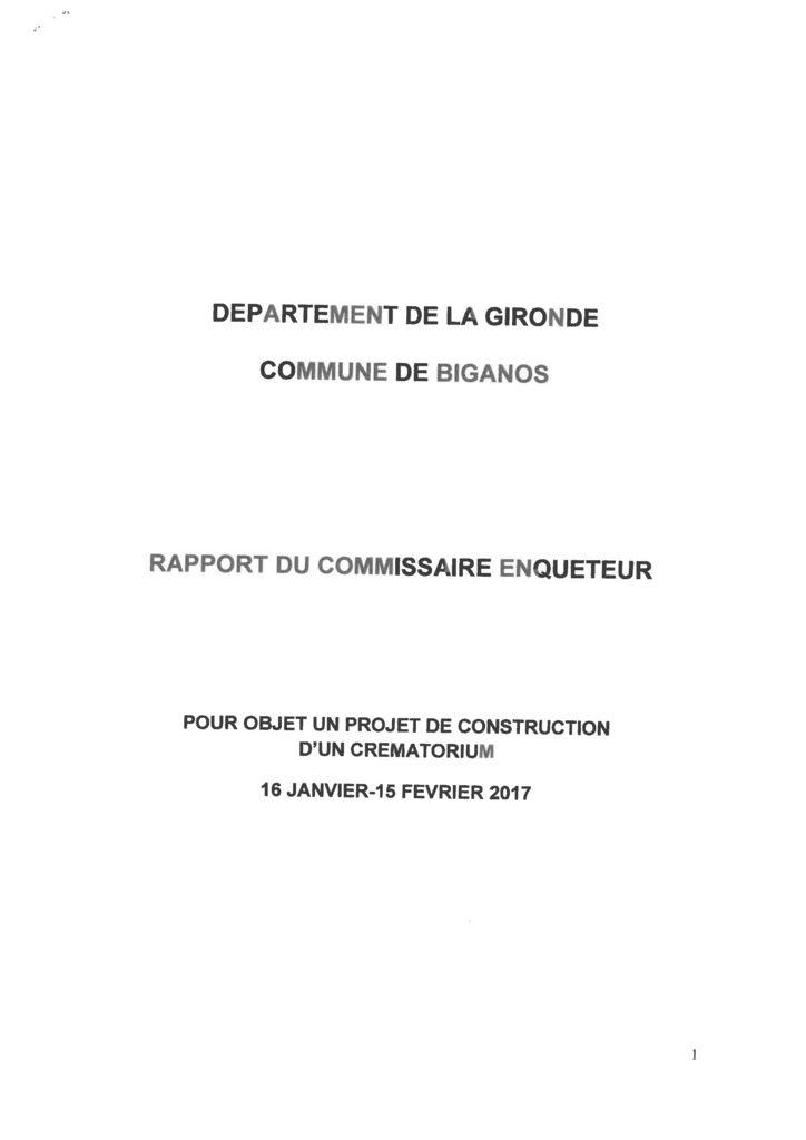 thumbnail of Rapport et Conclusions du Commissaire enquêteur Crématorium signé