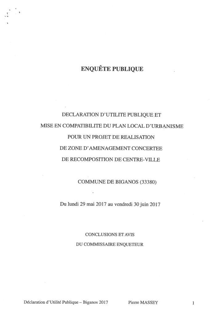 thumbnail of Conclusions du Commissaire enquêteur DUP et MECDU ZAC centre ville de Biganos