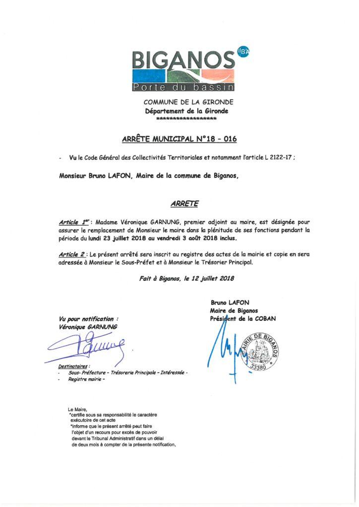 thumbnail of ARRETE 18.016 REMPLCT DU MAIRE PAR V GARNUNG DU 23.07 AU 03.08.2018