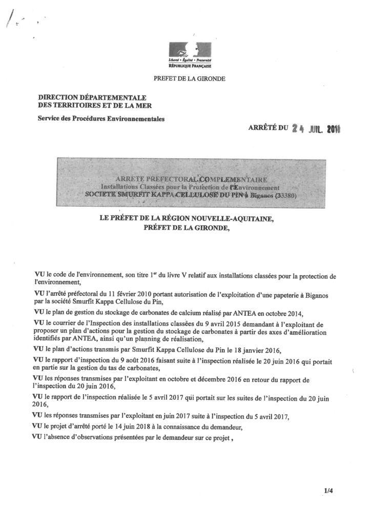 thumbnail of Arrêté Préfectoral SMURFIT KAPPA