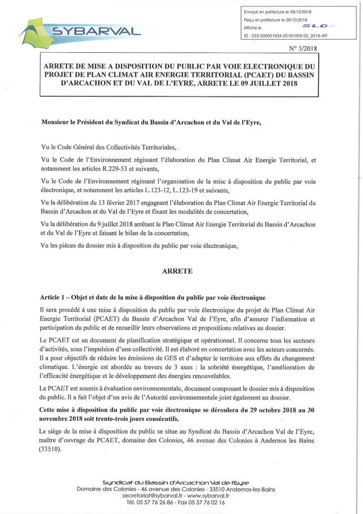 thumbnail of ARRETE DE MISE A DISPOSITION DU PUBLIC DU PROJET PCAET