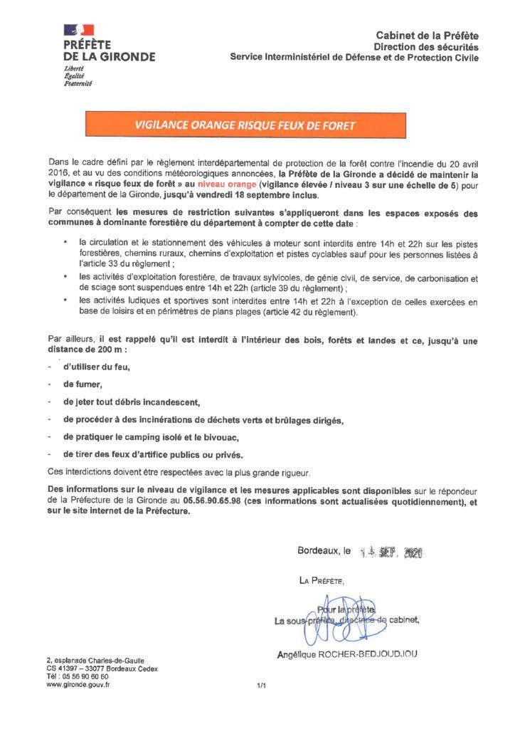 thumbnail of 2020-09-14 Maintien de la vigilance orange feux de forêt jusqu'au 18 septembre inclus