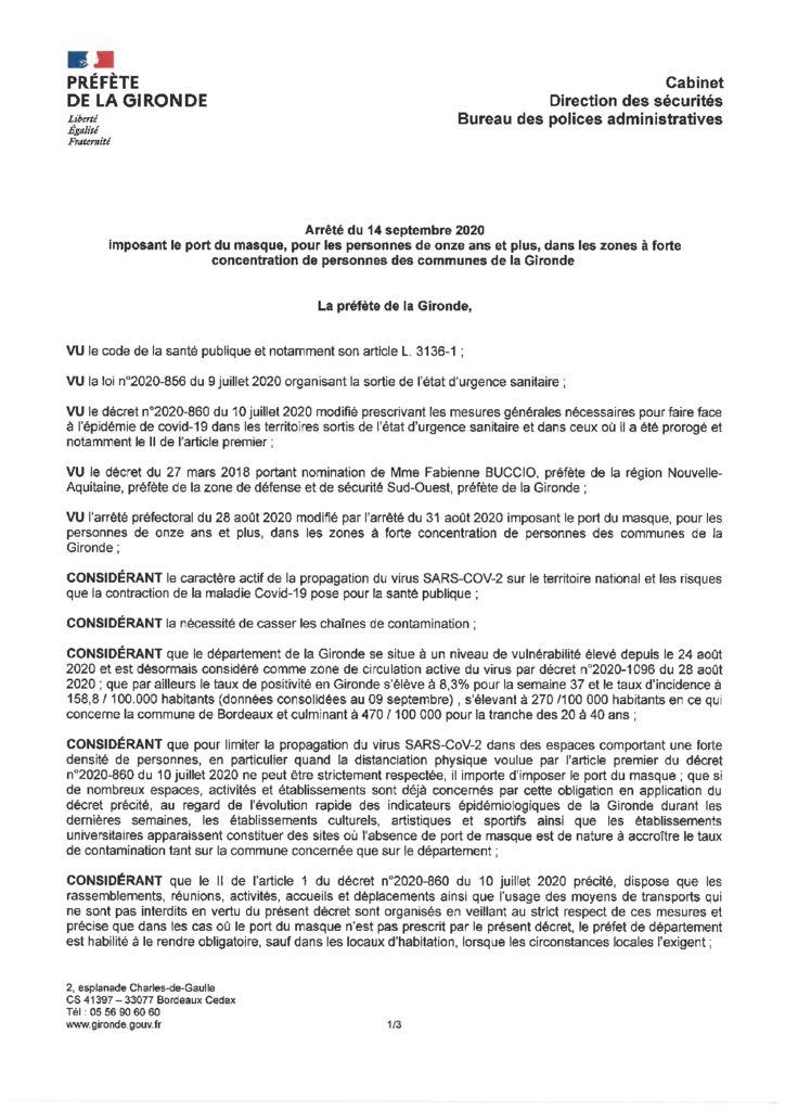 thumbnail of 2020_09_14 Arrêté imposant le port du masque dans les zones à forte concentration de personnes des communes de la Gironde