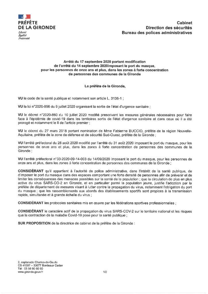 thumbnail of 2020_09_17_ Arrêté modifié imposant le port du masque dans les zones à forte concentration de personnes des communes de la Gironde
